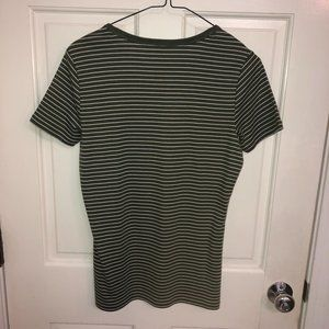 Lands End Striped Shaped Fit T-shirt Olive Green S